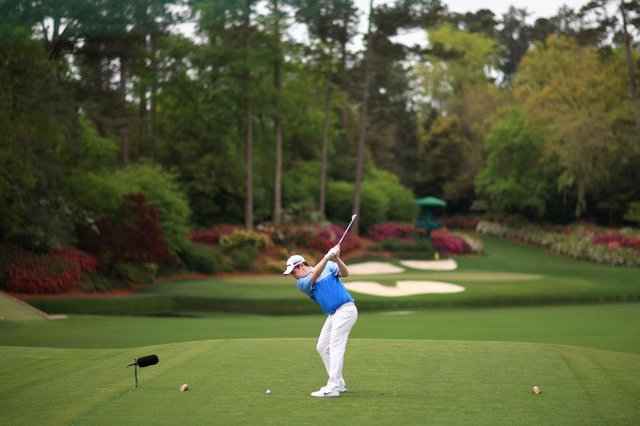Bob MacIntyre plays his shot from the 12th tee during the second round of the Masters at Augusta National Golf Club. He birdied that hole in the closing circuit. Picture: Mike Ehrmann/Getty Images.