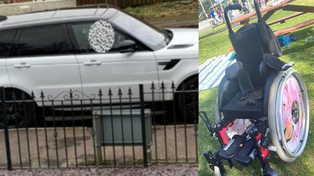 The white Range Rover Sport, with the child's wheelchair and splints in it, was stolen in Kilmarnock between 6.30pmonTuesday May 4and 8.25amon WednesdayMay 5 (Photo: Police Scotland).