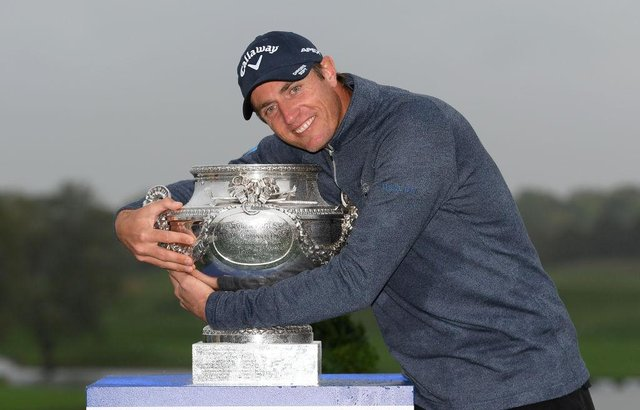 Nicolas Colsaerts of Belgium celebrates after winning the 2019 Amundi Open de France at Golf National. Picture: Ross Kinnaird/Getty Images.