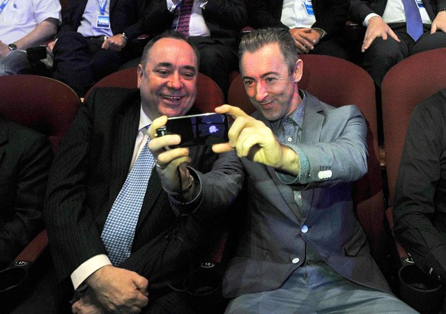 Will independence-supporting celebrities who live abroad such as actor Alan Cumming, seen with former First Minister Alex Salmond in 2012, back Arbroath campaign? (Picture: Andy Buchanan/AFP/GettyImages)
