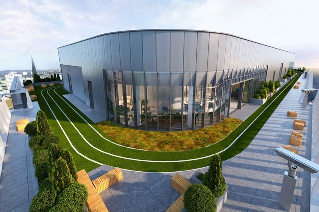 The vast new office building at 177 Bothwell Street in Glasgow will feature a rooftop terrace and running track, as seen on the top of several US skyscrapers.