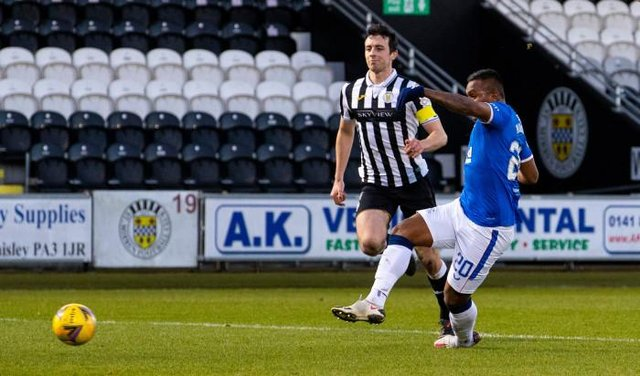 Alfredo Morelos pounces on an error by St Mirren captain Joe Shaughnessy to put Rangers 2-0 up. (Photo by Alan Harvey / SNS Group)