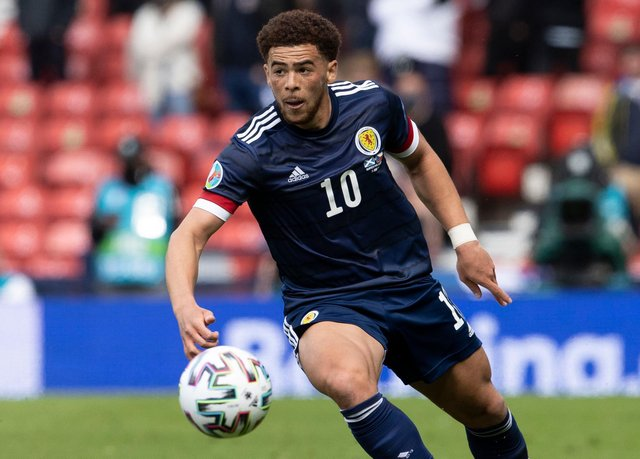Che Adams in action against the Czechs in the Euro 2020 with the second-half outing of huge significance through seeing the striker  become the first non-white player to feature for Scotland in a major finals. (Photo by Alan Harvey / SNS Group)