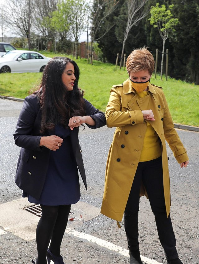 First Minister of Scotland and SNP leader Nicola Sturgeon and Anum Qaisar-Javed in Airdrie during campaigning for the Airdrie and Shotts by-election.
