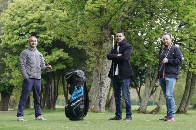 Affordable Golf managing director Mark Taylor and Clickboost co-founders Scott Beveridge and Gordon Campbell, who have joined Affordable Golf's board. Picture: Stewart Attwood