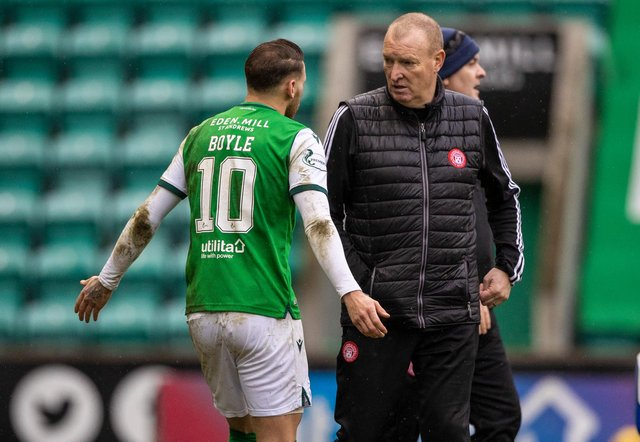 Hamilton manager Brian Rice shares his frustration with Hibs Martin Boyle at half-time after his defender, Jamie Hamilton, had been sent off for a challenge on the Easter Road goalscorer. Photo by Craig Williamson / SNS Group