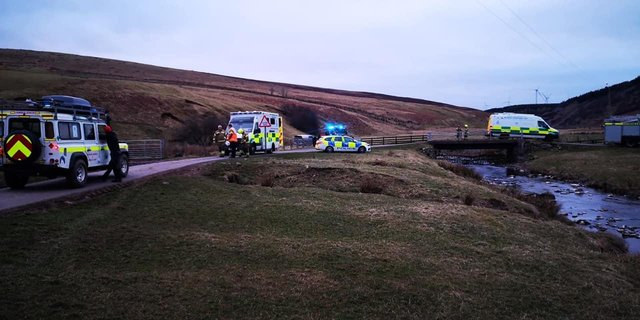 Emergency services attending the scene in the Scottish Borders (Photo: Border Search and Rescue Unit).