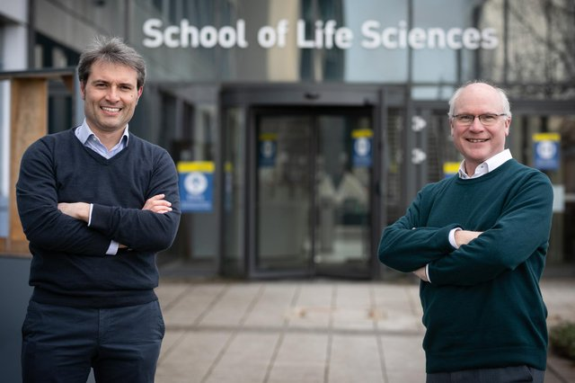 Professors Alessio Ciulli and Sir Mike Ferguson at the University of Dundee. Picture: Kenneth Malcolm