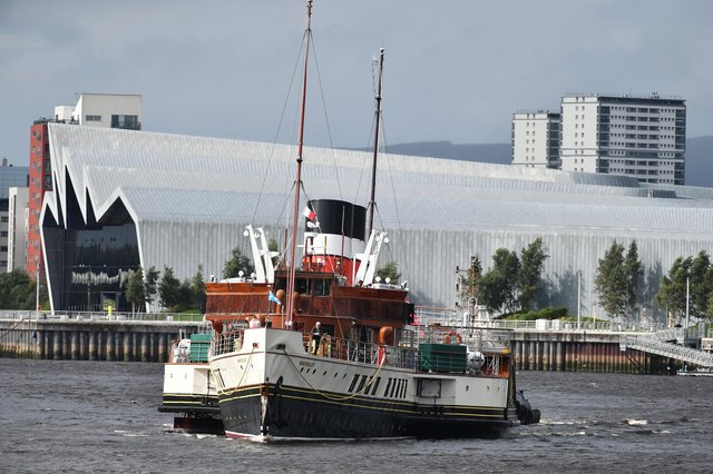 Waverley passing the Riverside Museum in Glasgow today en route to her berth at Pacific Quay. Picture: John Devlin