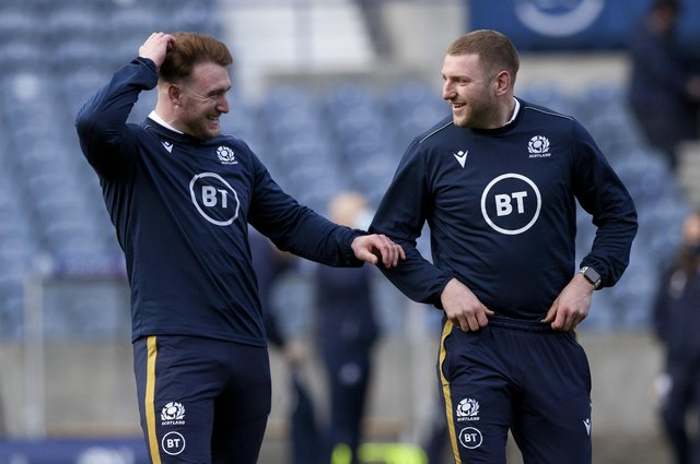 Stuart Hogg, left, will deputise at stand-off for Finn Russell should anything untoward happen to the Scotland fly-half against Ireland. Picture: Craig Williamson/SNS