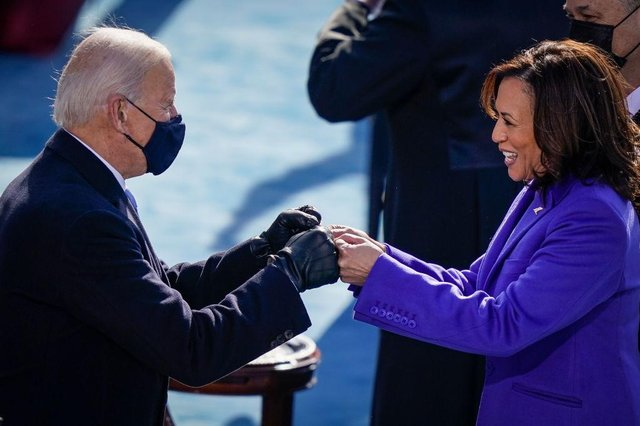 US president Joe Biden, pictured here fist bumping newly sworn-in vice president Kamala Harris, has made his cabinet picks. (Pic: Getty Images)