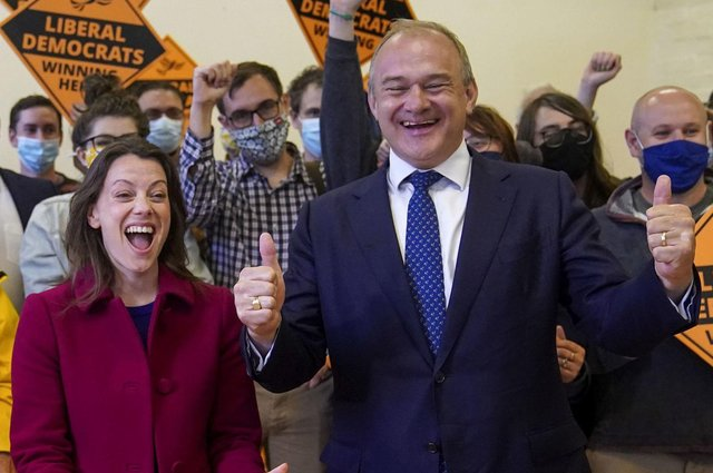 Liberal Democrat leader Ed Davey and new Liberal Democrat MP for Chesham and Amersham, Sarah Green, during a victory rally at Chesham Youth Centre, Chesham