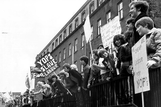 Young unemployed people demonstrate outside St Andrew's House in Edinburgh about the Youth Opportunities Programme in June 1981 (Picture: Dennis Straughan)