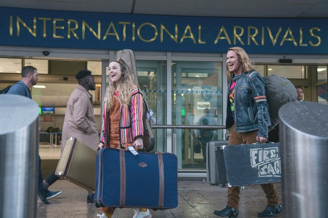 Rachel McAdams and Will Ferrell were spotted filming scenes at Glasgow Airport for the Netflix movie. Picture: Aidan Monaghan / Netflix