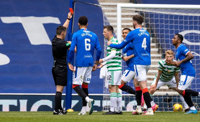 Celtic are reduced to 10 men with Callum McGrgor picking up two yellow cards inside six minutes during the last derby. (Photo by Craig Williamson / SNS Group)