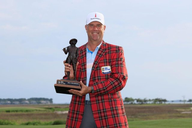 Stewart Cink poses with the trophy after winning the RBC Heritage at Harbour Town Golf Links in Hilton Head Island, South Carolina. Picture: Sam Greenwood/Getty Images.
