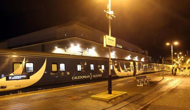 A Caledonian Sleeper train at Inverness Station. Picture: Andrew Smith.