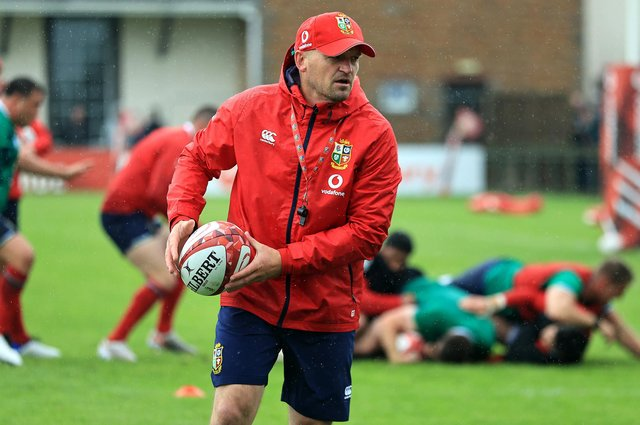 Lions attack coach Gregor Townsend during a training session in Saint Peter, Jersey. Picture: David Rogers/Getty Images