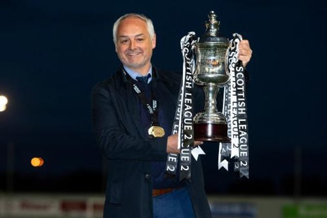 Queen's Park manager Ray McKinnon celebrates winning the Scottish League Two Title at the Falkirk Stadium, on April 29, 2021. (Photo by Ross MacDonald / SNS Group)
