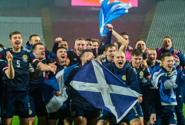 BELGRADE, SERBIA - NOVEMBER 12: Scotland's players celebrate after David Marshall saves Aleksandar Mitrović's penalty during the UEFA Euro 2020 Qualifier between Serbia and Scotland at the Stadion Rajko Mitic on November 12, 2020, in Belgrade, Serbia. (Photo by Nikola Krstic / SNS Group)