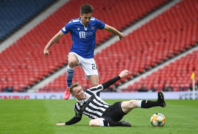 St Johnstone's Callum Booth (left) is tackled by St Mirren's Jake Doyle-Hayes  during the Perth club's Scottish Cup semi-final victory over St Mirren that now sees only old club Hibs stand in the McDiarmid Park side's way of an historic  double. (Photo by Craig Foy / SNS Group)