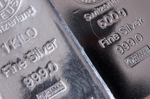 Two silver bars produced at the Swiss factory Argor-Heraeus, one of the world's largest processors of precious metals (Photo: Shutterstock)