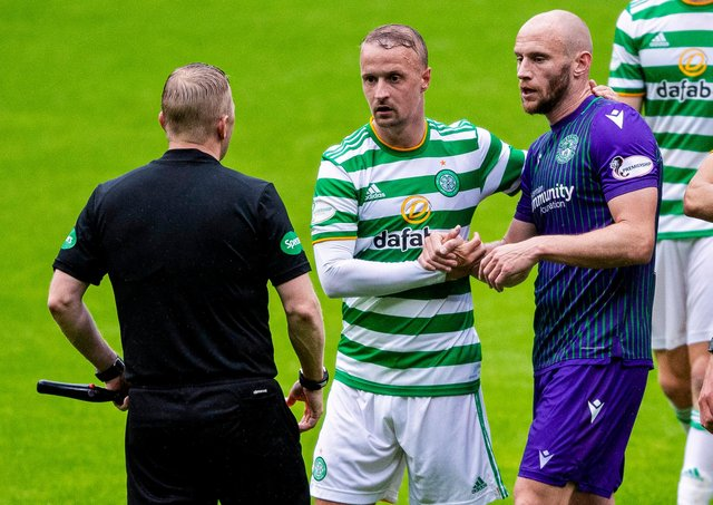Leigh Griffiths with Hibs captain David Gray during a pre-season meeting at Parkhead