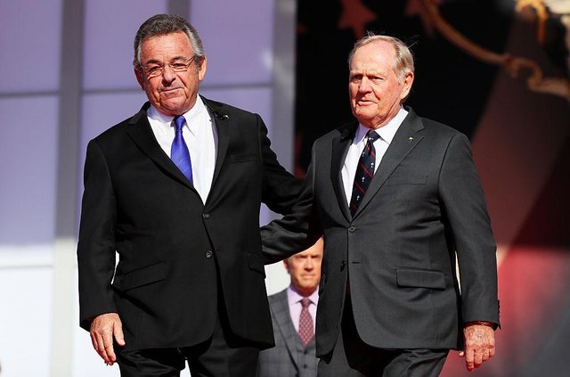 Former Ryder Cup captains Tony Jacklin and Jack Nicklaus during the 2016 Ryder Cup ppening ceremony at Hazeltine National Golf Club in Chaska, Minnesota. Picture: Andrew Redington/Getty Images.