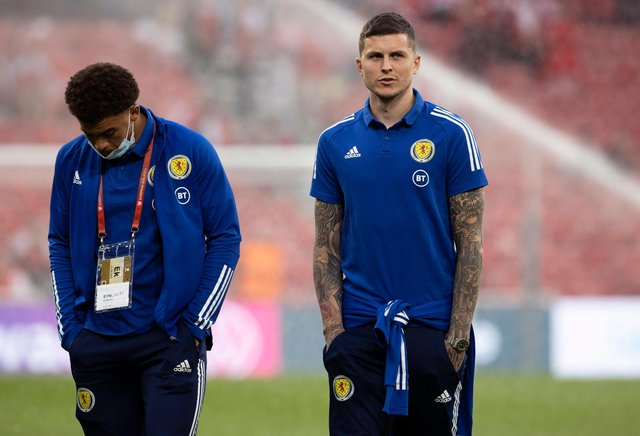Scotland's Che Adams (left0 and Lyndon Dykes should be paired for the first time this international fortnight by Steve Clarke for the crucial World Cup qualifier in Austria.  (Photo by Alan Harvey / SNS Group)