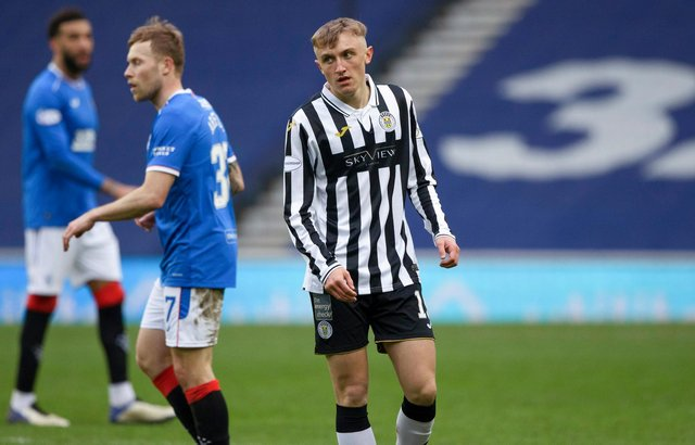 Dylan Reid making his professional debut for St Mirren against Rangers at Ibrox. Picture: SNS