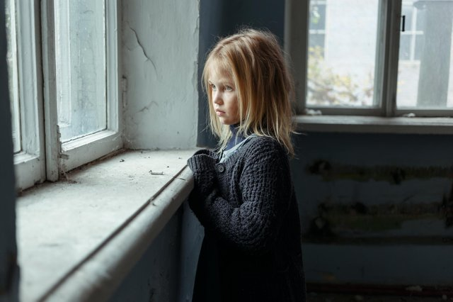 Stock image of child poverty