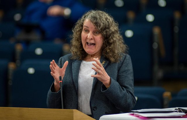 Rev Rosemary Frew delivers the report of the Faith Nurture Forum   Picture: Andrew O'Brien
