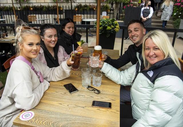 Enjoying a drink outside at the Tigerlily in George Street, Edinburgh. Photo by Lisa Ferguson