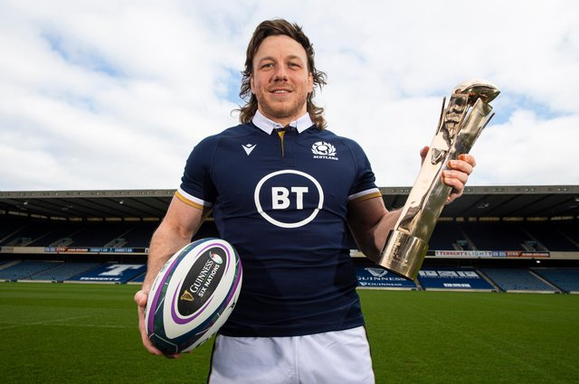 Hamish Watson with his Guinness Six Nations Player of the Championship award. Picture: Ross MacDonald/SNS