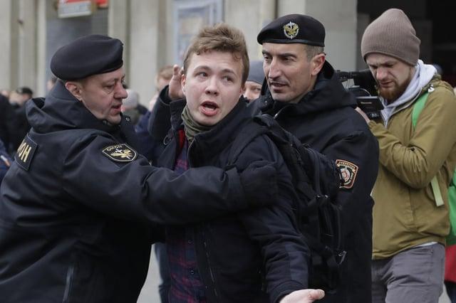 Belarus police detain journalist Roman Protasevich in Minsk, Belarus, in 2017 (Picture: Sergei Grits/AP)