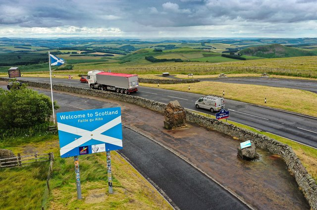 Freight crossing the border between Scotland and England at Carter Bar.