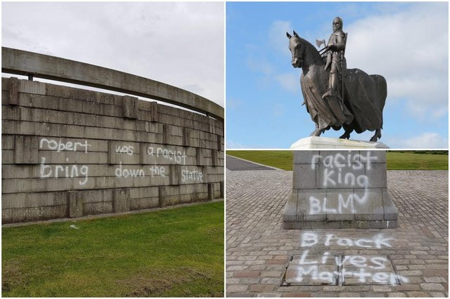 The statue of King Robert the Bruce at Bannockburn has been graffitied with messages calling for the monument to be removed.