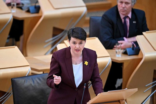 Leader of the Scottish Conservative Party Ruth Davidson speaks during the First Minister's Questions. Picture: Jeff J Michell/POOL/AFP via Getty Images