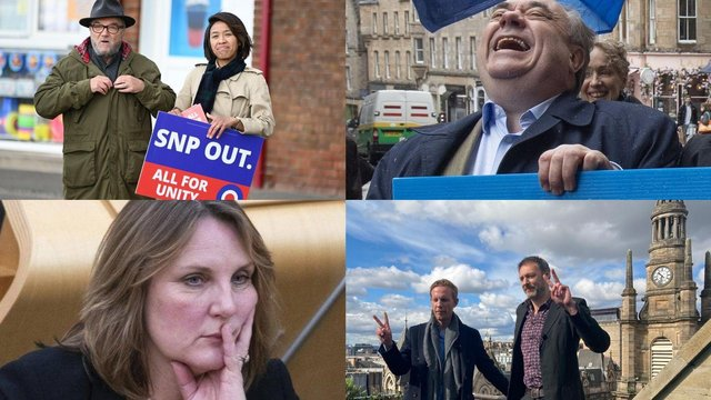 All the smaller parties running for the Scottish elections. L-R: Top: George Galloway with wife Putri Gayatri Pertiwi for All for Unity Party, Alex Salmond leader of the Alba Party. Bottom: Michelle Ballantyne for Reform UK, Laurence Fox, leader of Reclaim Party, with Glasgow candidate Leo Kearse.