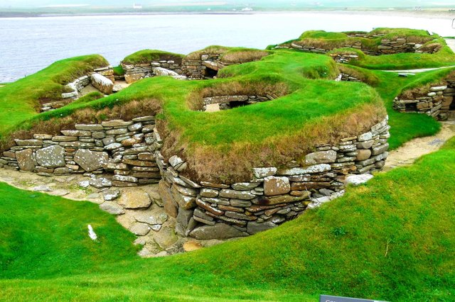 Skara Brae on Orkney. People lived at the Neolithic settlement from around 3,250 BC.