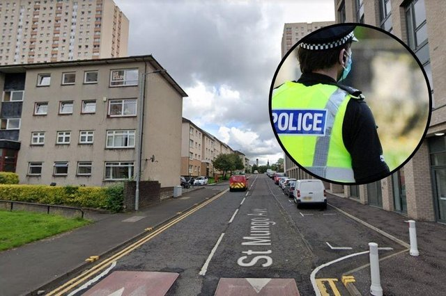 The 17-year-old victim was walking on St Mungo Avenue when he was approached from behind by two men and forced to the ground.