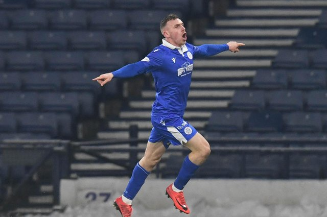 Queen of the South's Connor Shields celebrates his goal against Queens Park in the previous round of the Scottish Cup.  Photo by Ross MacDonald / SNS Group