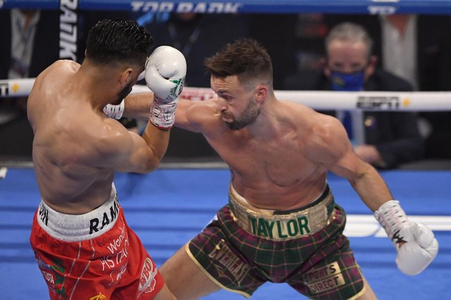 Josh Taylor takes the fight to Jose Ramirez in Las Vegas. Picture: David Becker/Getty Images
