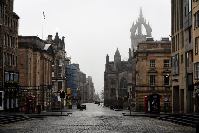Empty Edinburgh streets during the first lockdown in March 2020