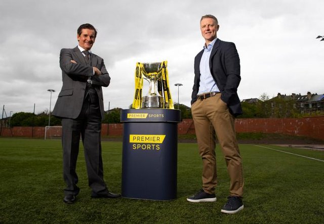 Tosh McKinlay (L) and Stephen Craigan are pictured as the draw is made for the first round of the 2021/22 Premier Sports Cup. (Photo by Alan Harvey / SNS Group)