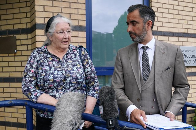 Margaret Caldwell, the mother of Emma Caldwell, and her solicitor, Aamer Anwar speak to the media after meeting new Lord Advocate Dorothy Bain QC in Glasgow