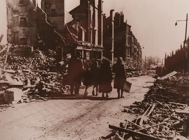 Evacuating Radnor Street, Clydebank, one morning after the Clydebank Blitz.