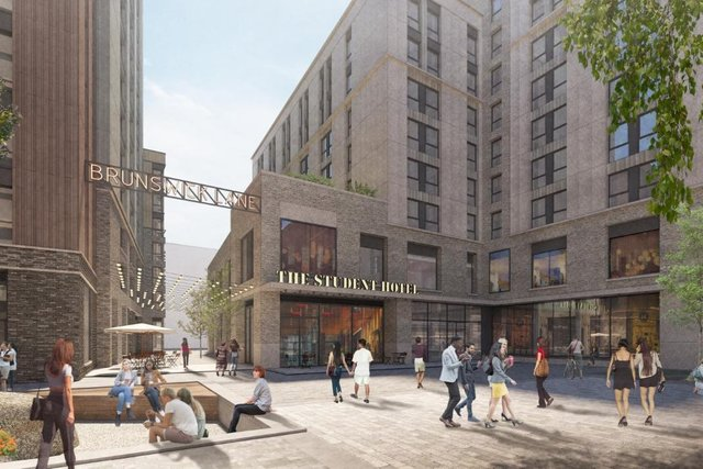 A CGI showing The Student Hotel at Candleriggs Square, Glasgow.