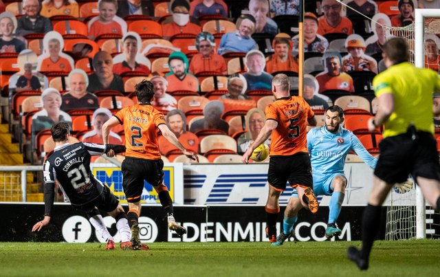 Dylan Connolly scores in St Mirren's 5-1 win over Dundee United.