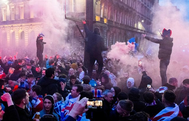 Rangers fans gather at George Square after their team clinch the Scottish Premiership crown. Picture: SNS